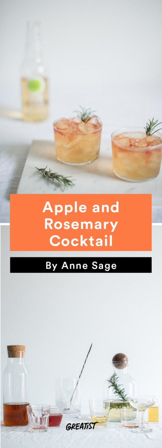 apple cocktails: Apple and Rosemary Cocktail