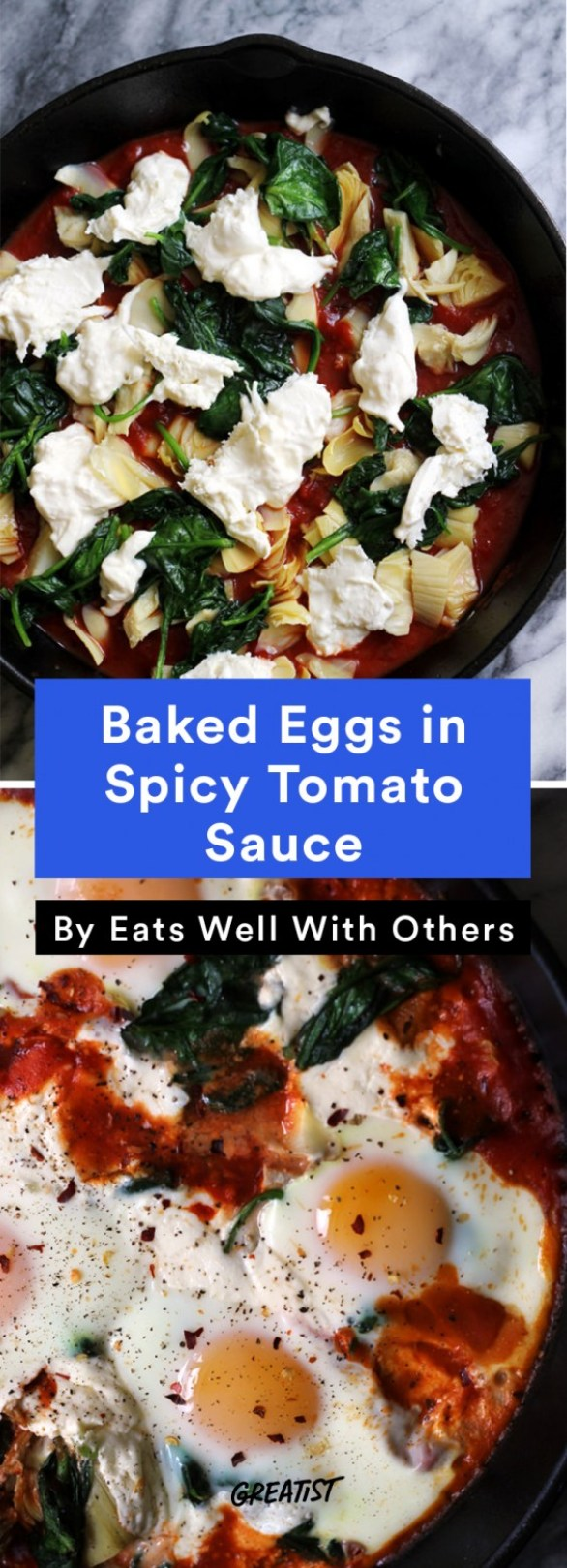 one tray veg din: Baked Eggs in Spicy Tomato Sauce