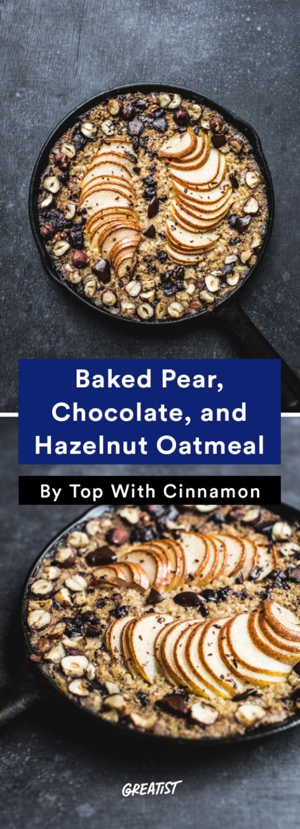 Baked Pear Chocolate Oatmeal