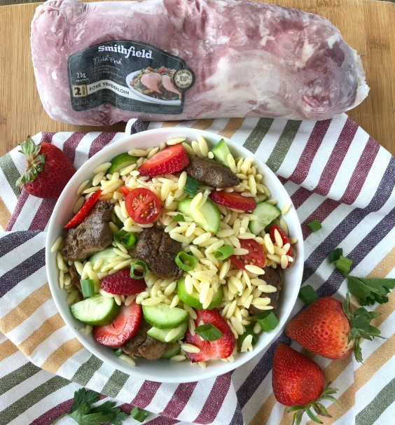 Grilled Pork Tenderloin and Strawberry Orzo Salad Recipe