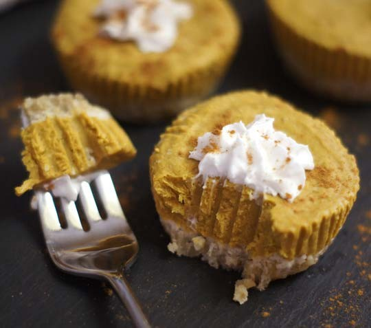 No-bake pumpkin spice tarts with a bite taken out of one