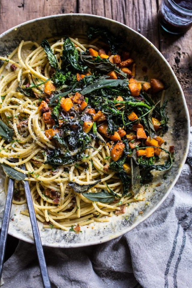 14. Winter Squash Carbonara With Broccoli Rabe and Sage