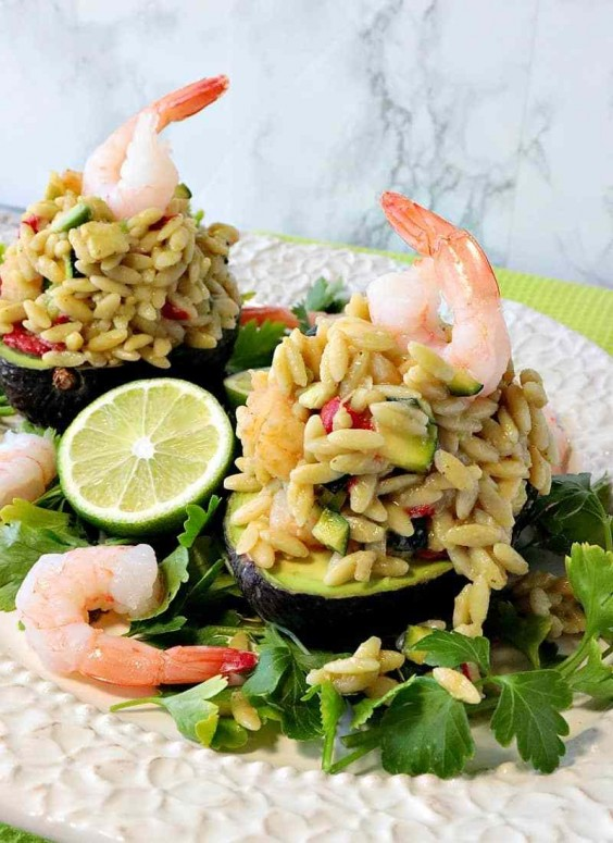 Orzo, Shrimp, and Vegetable Salad Stuffed Avocados Recipe