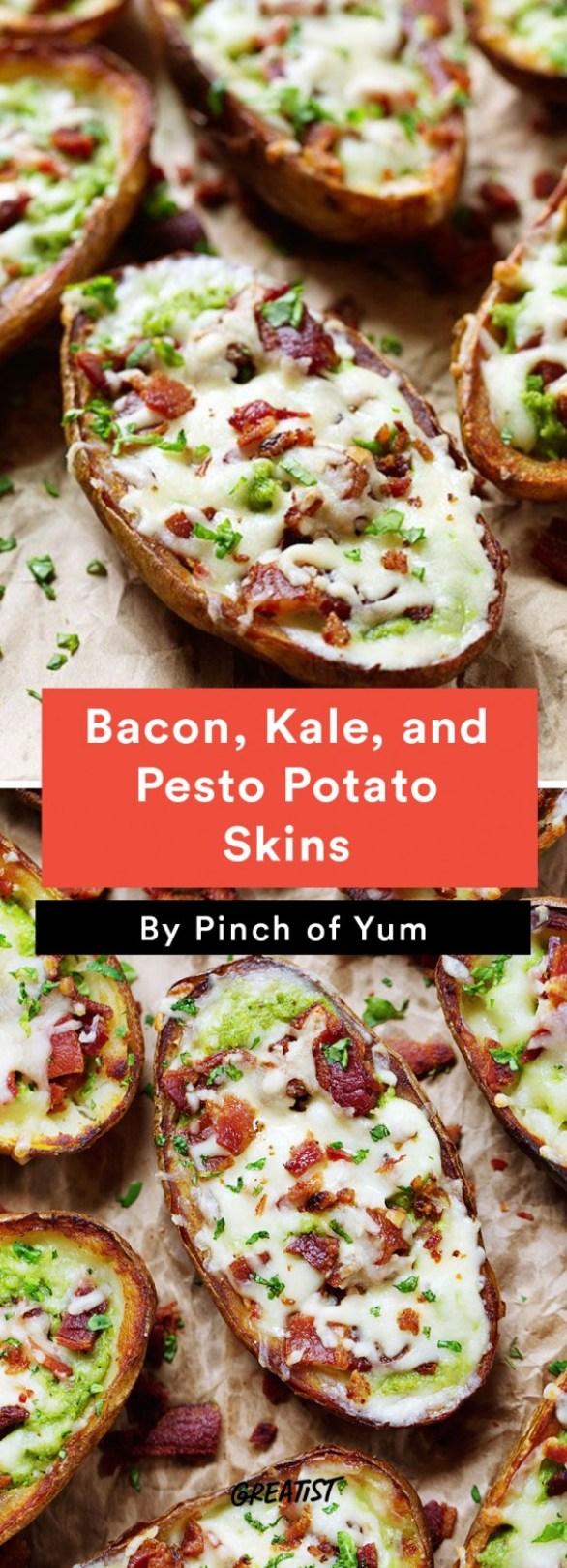 Bacon, Kale, and Pesto Baked Potato Skins