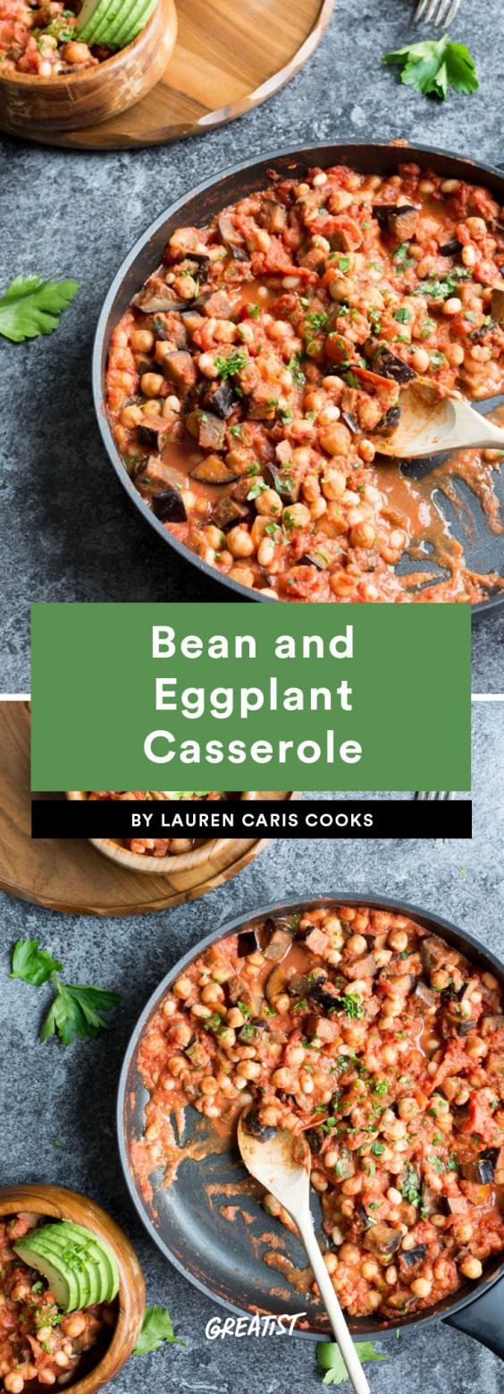 fifteen min veg dinner: Bean and Eggplant Casserole