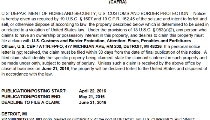 An April 22, 2016 notice of seizure and intent to forfeit cash by CBP Detroit.
