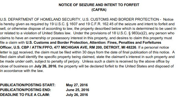 Back-to-back Detroit airport money seizures are listed in this May 27 Notice of Seizure and Intent to Forfeit published by CBP