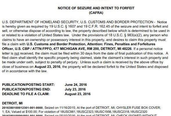 A copy of the notice of seizure and intent to forfeit featuring the case of the incomplete check seized by CBP