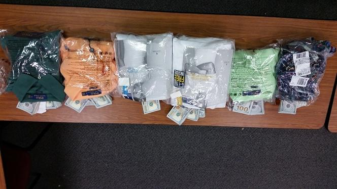 Seized cash in sealed shirt bags