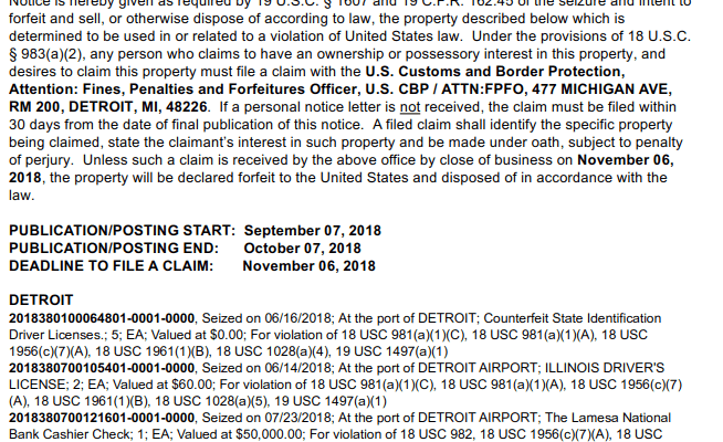 A September 7 2018 notice of seizure and intent to forfeit cash seized at Detroit Metropolital airport.