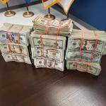 $201,585 in Unreported Currency Seized by CBP at Roma stacked in piles