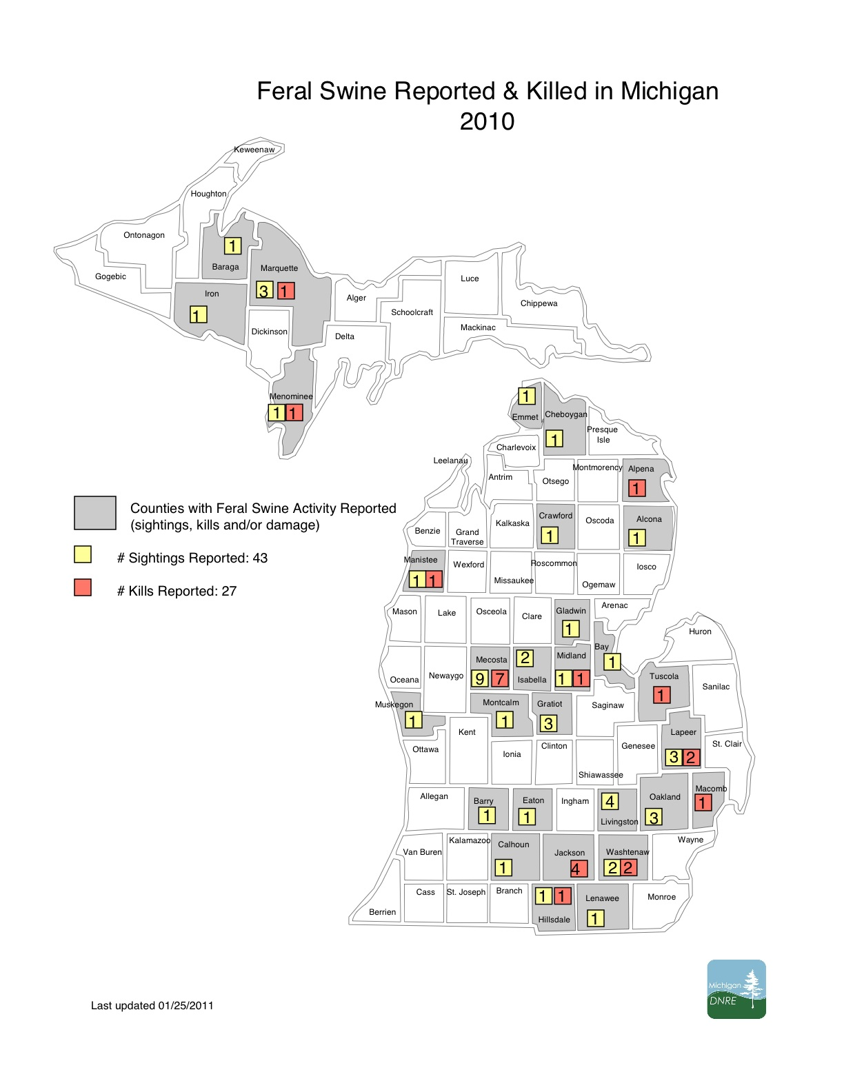 Feral Swine Sightings In Michigan Map.Michigan Feral Swine Map
