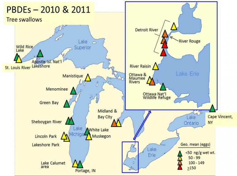 Map shows the level of PCBs at each study site. Image: USGS.