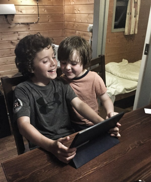 Kasm & Caelan having fun with Photo Booth on the iPad