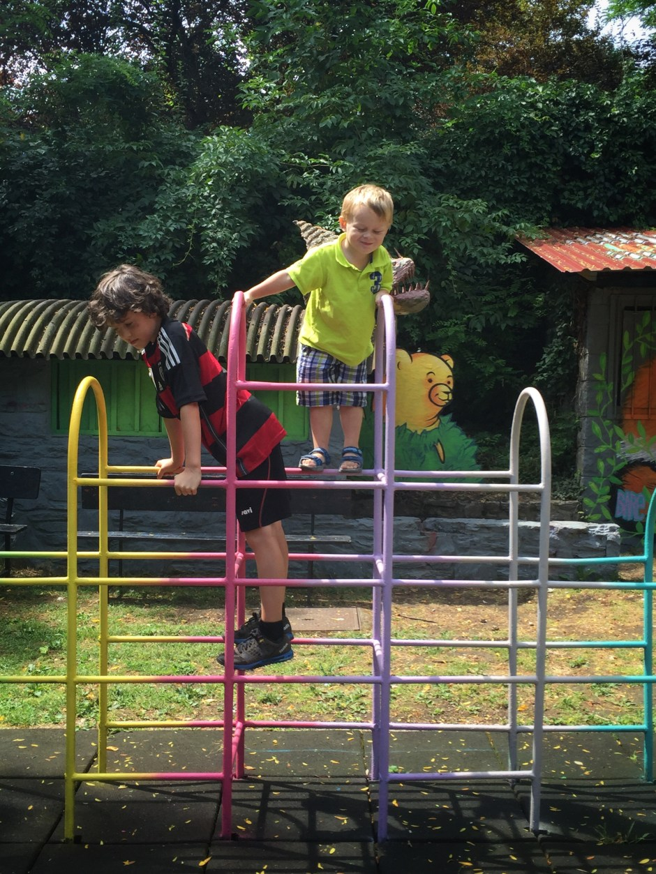 Boys having fun on the Monkey bars - Zagreb, Croatia