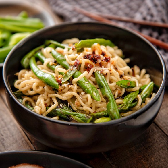 Ramen with Charred Scallions Green Beans and Chili Oil
