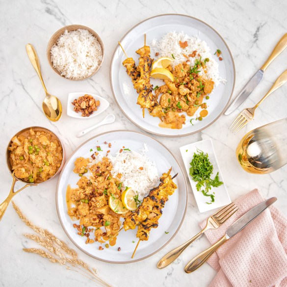 Cauliflower, Cashew, Pea and Coconut Curry, Rice, Chicken Skewers