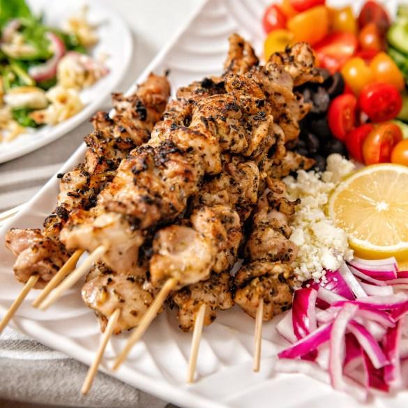 Greek Chicken Kabobs with Cauliflower Feta and Orzo Salad