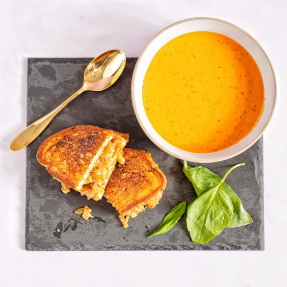 French Onion Grilled Cheese with Tomato Soup