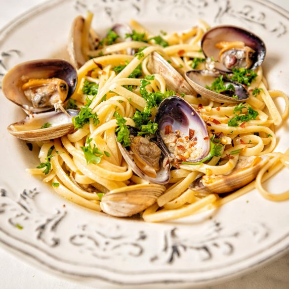 Spicy Clam Pasta with Roasted Brussels Sprouts