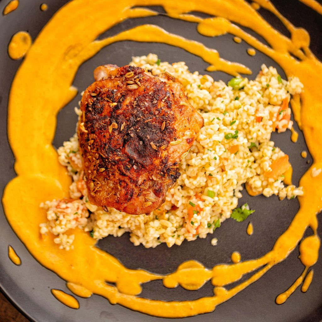 Roasted Chicken Thighs with Tabbouleh