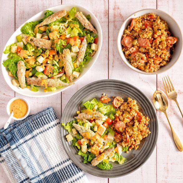 Creole Caesar Salad with Israeli Couscous Casserole