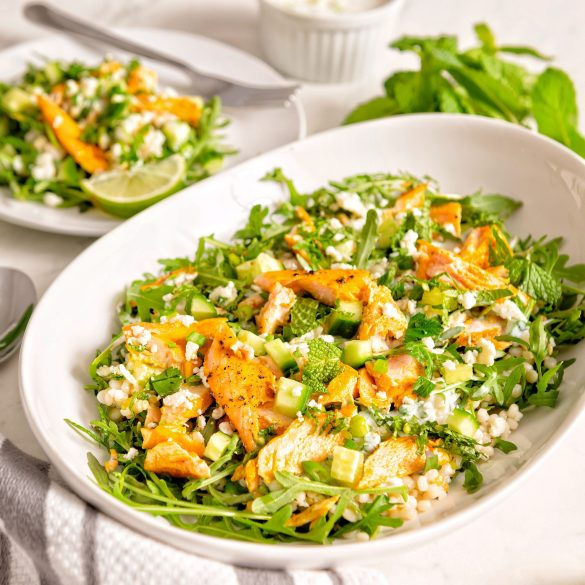 Salmon Couscous and Cucumber Salad