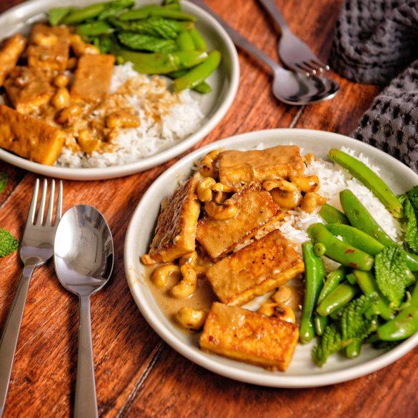 Crispy Tofu with Snap Pea Salad