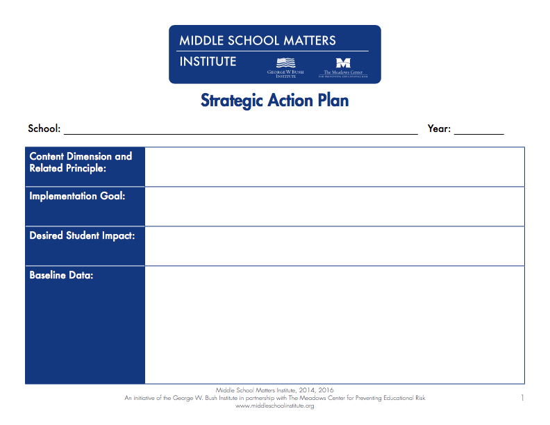 Action Plan Templates PDF and fixable forms from Middle School – Action Plan Templates