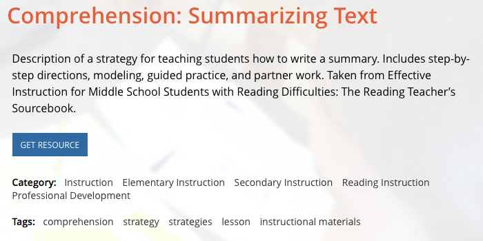 Summarization for Comprehension - MIDDLE SCHOOL MATTERS