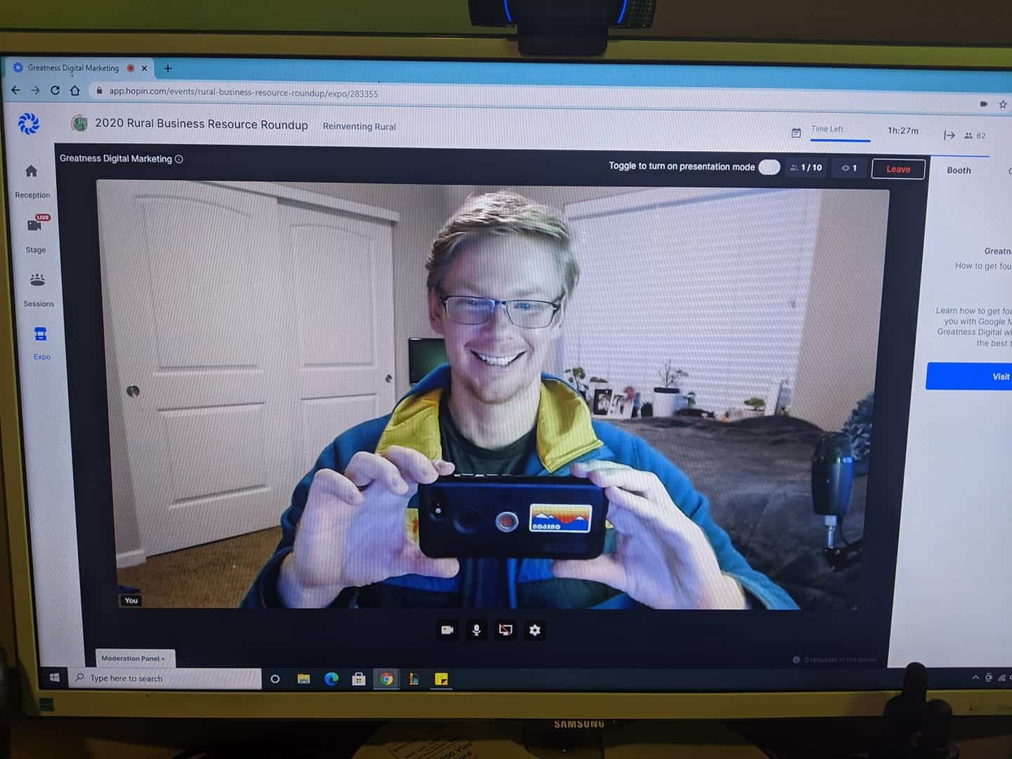 selfie photo during virtual event for small businesses