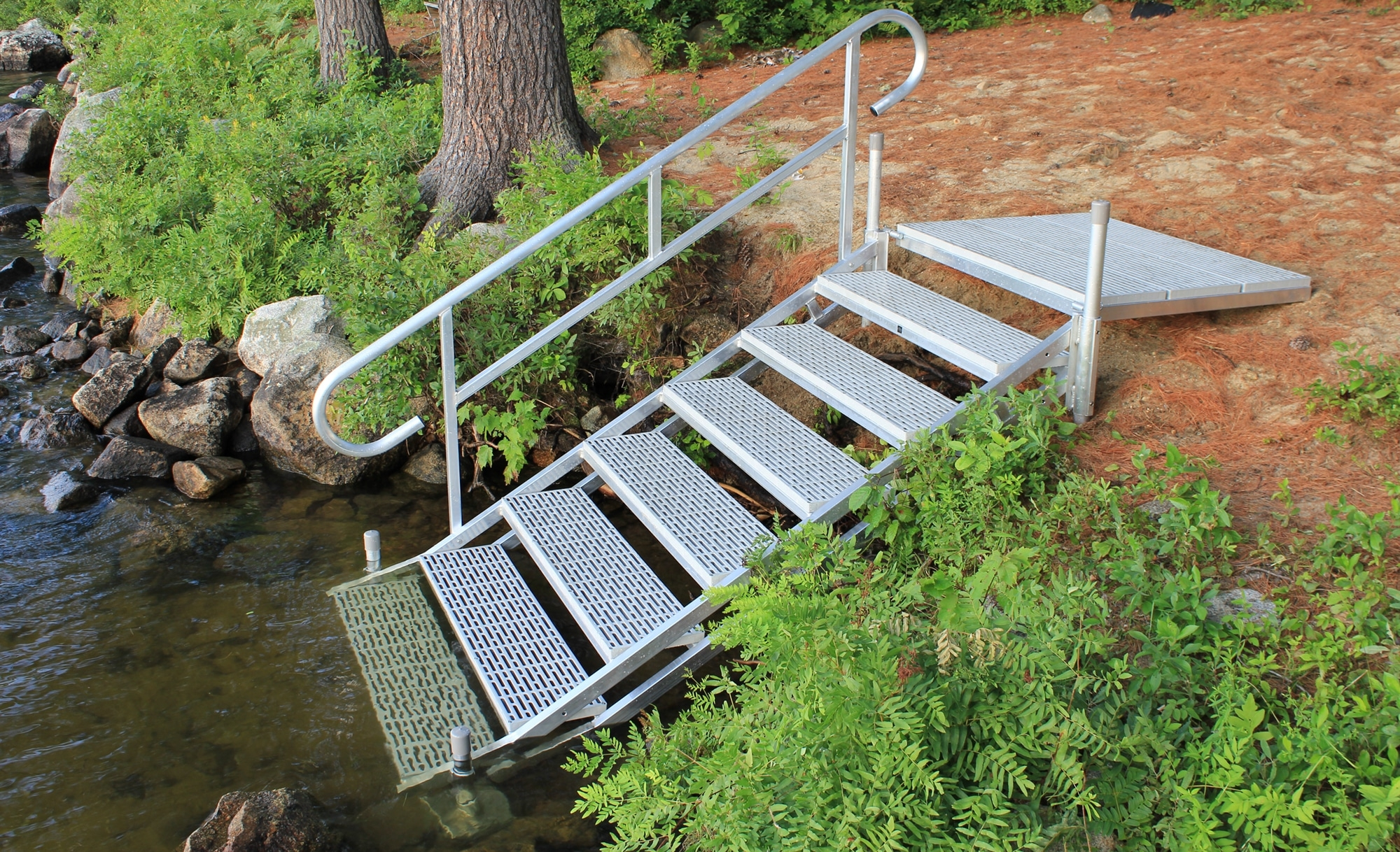 Aluminum Dock Stairs Great Northern Docks   Aluminum Steps With Handrail   Boat Dock   Wheelchair Ramp   Stair Treads   Folding   Stair System