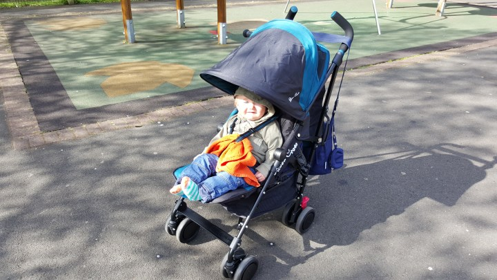 Silver Cross Pop stroller at the park