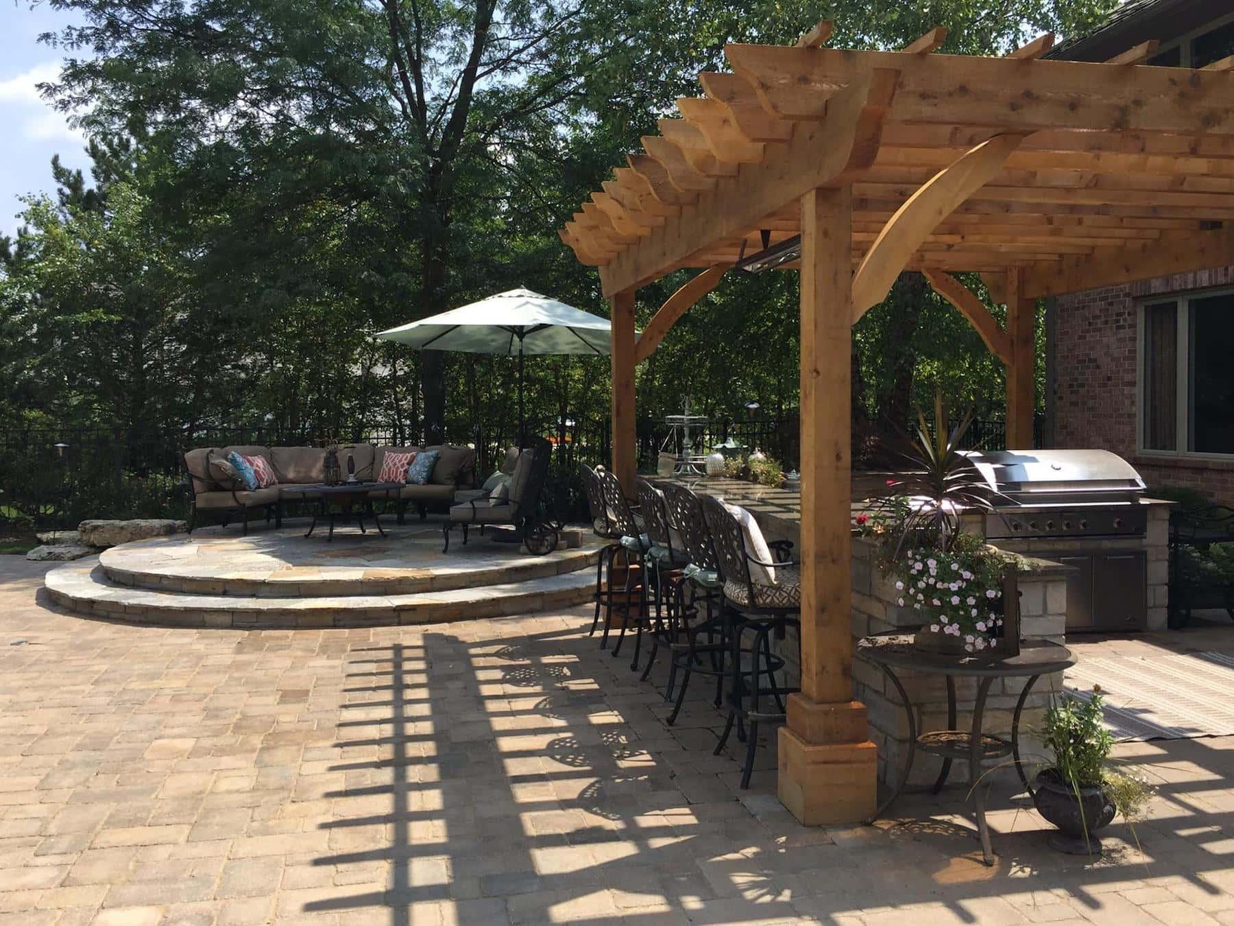 raised flagstone patio pergola