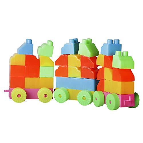 Lodestone Multi Colored Play and Learn Building Blocks for Kids – 51 Pieces Best Gift Toy, Multicolor, Along with A Carry Bag, Made in India Kids Care