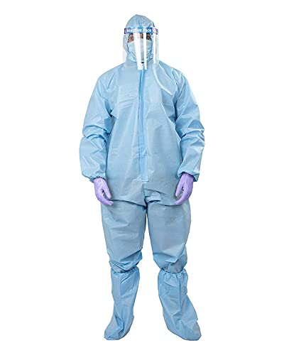 TIP TOP FASHION PPE Kit (Washeble (Re-useble) Coverall with Hood, 3Ply Face Mask, Shoe Cover)-Made In India Health Care
