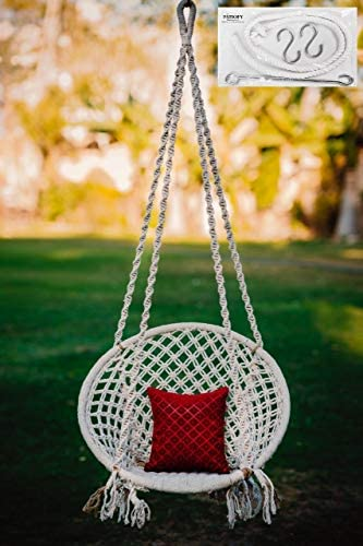 Patiofy Made in India Handmade Cotton Large Size Swing Hammock Chair with Complete Hanging Kit and 120 Kg Capacity for Comfort Indoor and Outdoor (White) Furniture