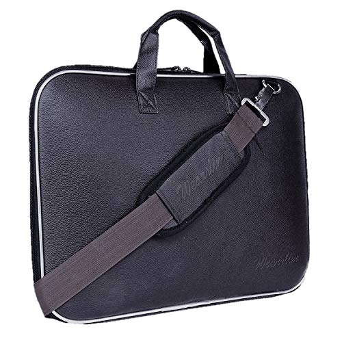 Wearslim Cady Collection Durable Briefcase Carrying Case for 15.6 in Laptops & Notebooks with Shoulder Strap Unisex Hard Shell Durable PU Leather Black Briefcase Laptop Bag Made in India Shoes & Bags