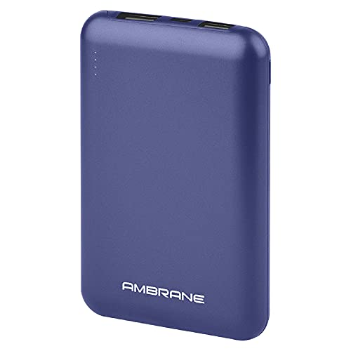 Ambrane 10000 mAh Compact Power Bank with Fast Charging, Sleek Design, Dual Output, Type C Input, Li-Polymer, Made in India for Mobiles & Other Devices + Free Type C Cable (Powerlit, Blue) Accessories