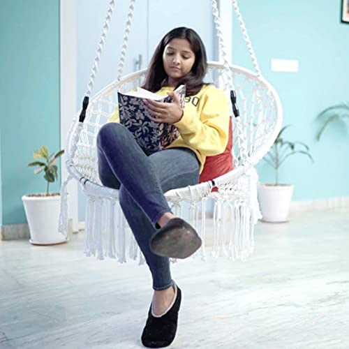 Patiofy Made in India Premium Comfy Series Swing Chair Hammock Hanging Cotton Chair with Cushion & Accessories for Indoor & Outdoor/120 Kgs Capacity/Swing Chair with 1 Cushion for Kids & Adults-White Furniture