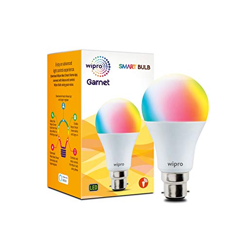 Wipro 9-Watt B22 WiFi Enabled Smart NS9001 LED Bulb (16 Million Colors + Warm White/Neutral White/White) (Compatible with Amazon Alexa and Google Assistant) Hardware