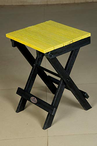 Econiture Azure Folding Multipurpose Recycled Plastic Stool Portable & Suitable for Adults, Kids, Home, Indoor, Outdoor 34 * 36 * 50 cm : Yellow Color Furniture