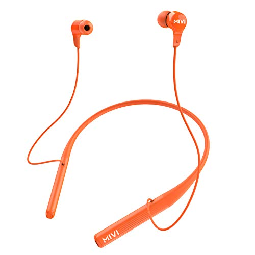 Mivi Collar 2B Wireless Earphones, Bluetooth Earphones with mic, Fast Charging, Powerful Bass, HD Sound and Made in India Neckband – Orange Accessories