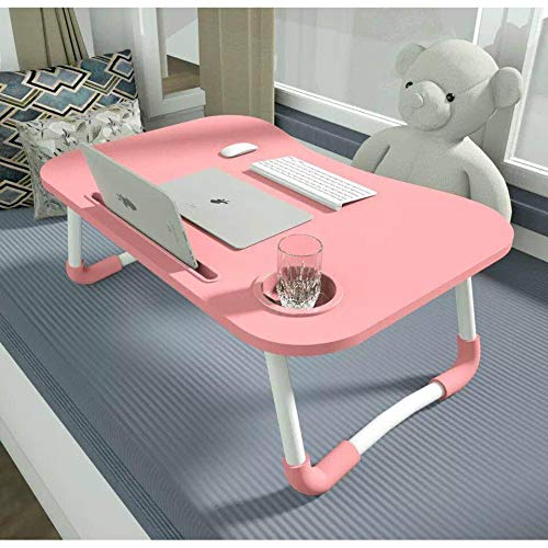 Perfect Portable Folding Laptop Stand Holder (Made in India) with Slot Study Table Desk Computer Desk for Home Office Bed Sofa Table Stand Cup Holder with Many Activities (Pink) Furniture