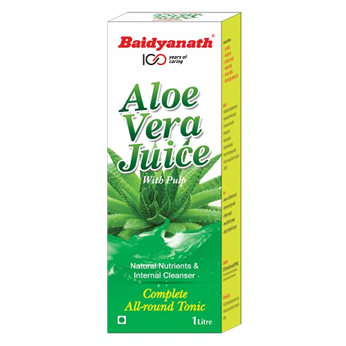 Baidyanath Aloe Vera Juice with Pulp – An All-Round Tonic for Skin and Hair – 1L Ayurvedic