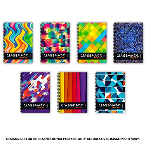 Classmate Pulse 6 Subject Notebook – Unruled, 300 Pages, Spiral Binding, 240mm*180mm Stationery