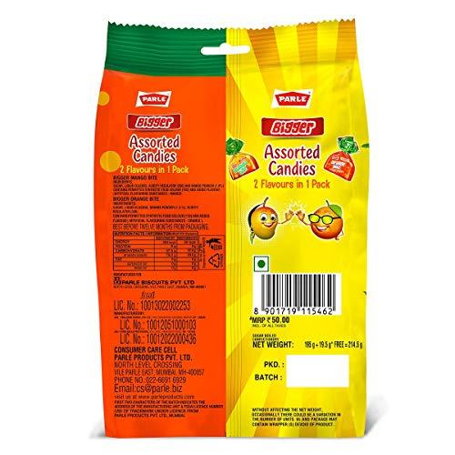 Parle Assorted Bigger Mango Bite & Orange Bite, 214.5g Dry Snacks
