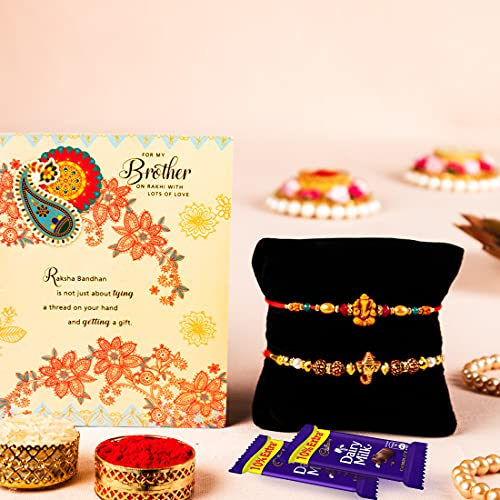 ARCHIES Rakhi For Brother Special Rakshabandhan Combo Set of 2 Ganpati Bhaiya/ Bro/ Bhai Rakhis with Greeting Card, 2 Dairy Milk Chocolates 24 gms, Roli Chawal 10 gms Pack (Gift pack of 6)
