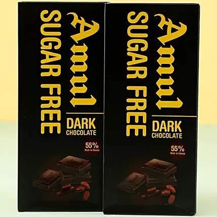 Amul Sugar Free Dark Chocolate- 55% Rich in Cocoa, 150 gm (Pack of 2)