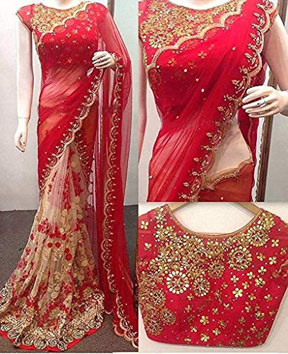 Everwey Women's Georgette Net Embroidery Saree with Blouse Piece(tev-rangoli red edt) new